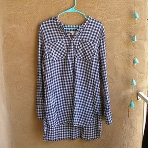 Merona XXL blue checked shirt with long tails